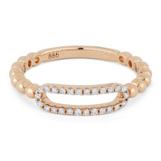 0.13ct Round Cut Diamond Open-Oval & Ball-Bead Band Right-Hand Ring in 14k Rose Gold - AM-R1033P