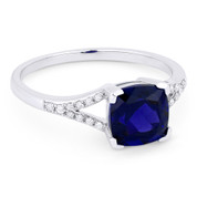 1.85ct Cushion Cut Lab-Created Blue Sapphire & Round Cut Diamond Splitshank Ring in 14k White Gold -  AM-R13983BC