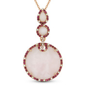 9.70 ct Checkerboard Pink Opal, Ruby, & Diamond Pendant & Chain Necklace in 14k Rose Gold - AM-DN3975