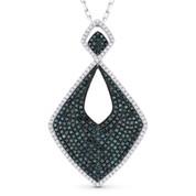 1.52ct White & Blue Round Cut Diamond Pave Pendant & Chain Necklace in 14k Black & White Gold - AM-DN4733