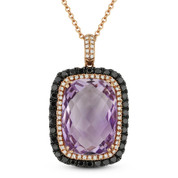 14.97ct Amethyst, White Diamond, & Black Diamond Pendant & Chain in 14k Rose & Black Gold - AM-DN3788