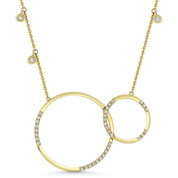 0.37 ct Round Cut Diamond Double Circle Pendant & Chain Necklace in 14k Yellow Gold - AM-DN4885