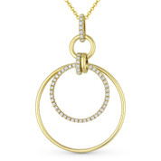 0.33 ct Round Cut Diamond Eternity Circle Pendant & Chain Necklace in 14k Yellow Gold - AM-DN4893