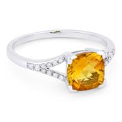 1.38ct Cushion Cut Citrine & Round Cut Diamond Splitshank Ring in 14k White Gold - AM-R13983CT