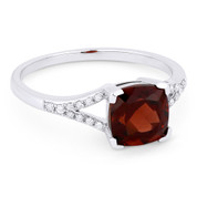 1.53ct Cushion Cut Garnet & Round Cut Diamond Splitshank Ring in 14k White Gold - AM-R13983GA