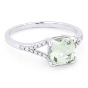1.41ct Cushion Cut Green Amethyst & Round Cut Diamond Splitshank Ring in 14k White Gold - AM-R13983GAM