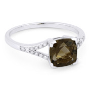 1.37ct Cushion Cut Smoky Topaz & Round Cut Diamond Splitshank Ring in 14k White Gold - AM-R13983ST