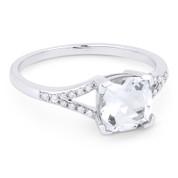 1.85ct Cushion Cut White Topaz & Round Cut Diamond Splitshank Ring in 14k White Gold - AM-R13983WT