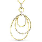 0.31 ct Round Cut Diamond Oval Stack Pendant & Chain Necklace in 14k Yellow Gold - AM-DN4894