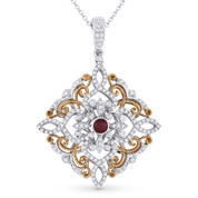 0.76ct Round Cut Ruby & Diamond Antique-Style Pendant & Chain in 14k White & Rose Gold - AM-DN4940