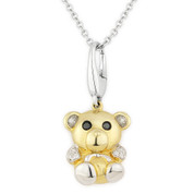 0.05ct White & Black Diamond Teddy Bear Animal Charm Pendant & Chain Necklace in 14k Yellow & White Gold