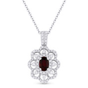 1.06 ct Oval Ruby & Round Diamond Pave Flower Pendant in 18k White Gold w/ 14k Chain - AM-DN4851