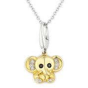 0.05ct Black & White Diamond Baby Elephant Animal Charm Pendant & Chain Necklace in 14k Yellow & White Gold