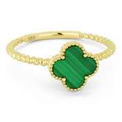 0.90ct Malachite Gemstone Right-Hand Flower Ring in 14k Yellow Gold - AM-R1025MALY