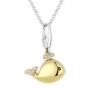 0.03ct Round Cut White & Black Diamond Whale Animal Charm Pendant & Chain Necklace in 14k Yellow & White Gold
