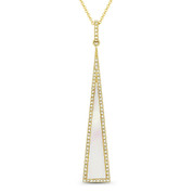 Mother-of-Pearl & 0.17ct Diamond Pave Dangling Stiletto Pendant & Chain in 14k Yellow Gold - AM-DN4928