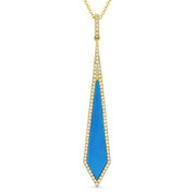 Blue Turquoise & 0.18ct Diamond Pave Dangling Stiletto Pendant & Chain in 14k Yellow Gold - AM-DN4973