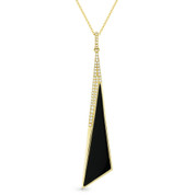 Black Onyx & 0.12ct Diamond Pave Dangling Stiletto Pendant & Chain in 14k Yellow Gold - AM-DN5000