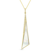 Mother-of-Pearl & 0.12ct Diamond Pave Dangling Stiletto Pendant & Chain in 14k Yellow Gold - AM-DN5003