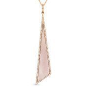 Mother-of-Pearl & 0.25ct Diamond Pave Dangling Stiletto Pendant & Chain in 14k Rose Gold - AM-DN5053