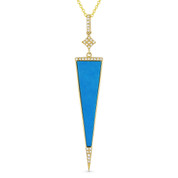 Blue Turquoise & 0.08ct Diamond Pave Dangling Stiletto Pendant & Chain in 14k Yellow Gold - AM-DN5051