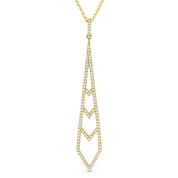 0.24ct Diamond Pave Dangling Stiletto Pendant & Chain in 14k Yellow Gold - AM-DN5052