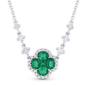 1.01ct Emerald & Diamond Flower Pendant in 18k White Gold w/ 14k Chain Necklace - AM-DN4948