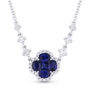 1.32ct Sapphire & Diamond Flower Pendant in 18k White Gold w/ Cable & Diamond-Link 14k Chain - AM-DN4949