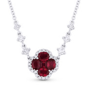 1.38ct Ruby & Diamond Flower Pendant in 18k White Gold w/ Cable & Diamond-Link 14k Chain - AM-DN4950