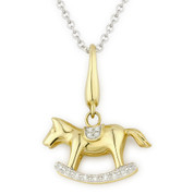 0.04ct Round Cut Diamond Rocking-Horse Charm Pendant & Chain Necklace in 14k Yellow Gold