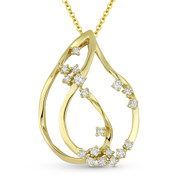 0.27ct Round Cut Diamond Cluster Tear-Drop Pendant & Chain Necklace in 14k Yellow Gold - AM-DN4956