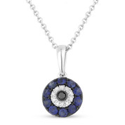 0.34ct Round Cut Sapphire & Diamond Evil Eye Luck Charm in 14k White & Black Gold w/ Chain Necklace