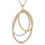 0.61ct Round Cut Diamond Oval Stack Pendant & Chain Necklace in 14k Rose, Yellow, & White Gold - AM-DN4726