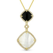 Mother-of-Pearl, Black Onyx, & 0.20ct Diamond Pave Drop Pendant & Chain in 14k Yellow Gold - AM-DN4906