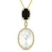 Mother-of-Pearl, Black Onyx, & 0.22ct Diamond Pave Drop Pendant & Chain in 14k Yellow Gold - AM-DN4907