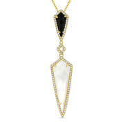 Mother-of-Pearl, Black Onyx, & 0.22ct Diamond Pave Drop Pendant & Chain in 14k Yellow Gold - AM-DN4908
