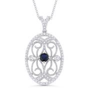 0.57ct Round Cut Lab-Sapphire & Diamond Pendant & Chain Necklace in 14k White Gold - AM-DN4912