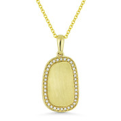 0.12ct Round Cut Diamond Brushed-Centerpiece Rectangle Pendant & Necklace in 14k Yellow Gold - AM-DN5037