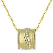 0.06ct Round Cut Diamond Sliding Pendant & Chain Necklace in 14k Yellow Gold - AM-DN5030