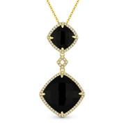 Checkerboard Black Onyx & 0.20ct Diamond Halo Pendant & Chain Necklace in 14k Yellow Gold - AM-DN5106
