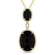 Checkerboard Black Onyx & 0.22ct Diamond Halo Pendant & Chain Necklace in 14k Yellow Gold - AM-DN5108