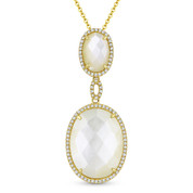 Checkerboard Mother-of-Pearl & 0.22ct Diamond Halo Pendant & Chain Necklace in 14k Yellow Gold - AM-DN5107