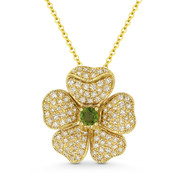 0.53 ct Green Tourmaline & Diamond Flower Charm Pendant & Chain in 14k Yellow Gold - AM-DN5150