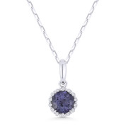 0.74ct Round Cut Alexandrite & Diamond Halo Pendant & Chain Necklace in 14k White Gold - AM-N1008AXW