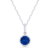 0.65ct Round Cut Blue Lab-Sapphire & Diamond Halo Pendant & Chain Necklace in 14k White Gold - AM-N1008BCW
