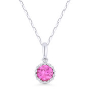0.65ct Round Cut Pink Lab-Sapphire & Diamond Halo Pendant & Chain Necklace in 14k White Gold - AM-N1008PCW