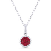 0.65ct Round Cut Lab-Created Ruby & Diamond Halo Pendant & Chain Necklace in 14k White Gold - AM-N1008RCW