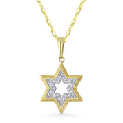 0.06ct Round Cut Diamond Star of David Pendant & Chain Necklace in 14k Yellow & White Gold - AM-DP5437