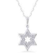 0.06ct Round Cut Diamond Star of David Pendant & Chain Necklace in 14k White Gold - AM-DP5437W
