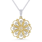 0.04ct Round Cut Diamond Flower Pendant & Chain Necklace in 14k Yellow & White Gold - AM-DN4340